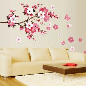 Sakura Removable Wall Stickers Living Bedroom Decorations DIY Flowers Home Decal