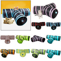 3-hole Cat Tunnel Tubes Foldable Collapsible Crinkle Outdoor Pet Training Toy