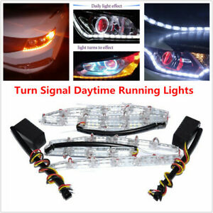 2PCS 12V Dual Color Tearful Eyes LED Turn Signal Daytime Running Light Stripes