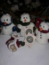 Boyds Bear Ornaments Christmas Lot Wuzzies Snowmen Blizzard Trio Lot of 4