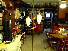 VINTAGE TWO GLOBE TENSION POLE LAMP WHITE GLASS PINE CONE GLOBES FLOOR LIGHT