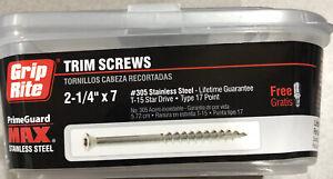 """Grip Rite MAXS62776 Trim Head Screw # 7x2-1/4"""" T15 Star Drive,SS,1LB Tub"""