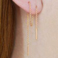 S925 Silver Long Chain Ear Thread Threader Earring Drop Tassels Ear Line Jewelry