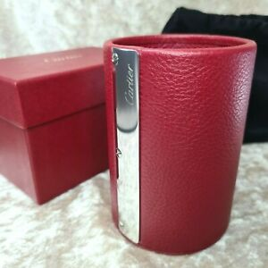 Authentic Cartier Pen Stand Holder Red Leather Palladium Accent w/Case (NEW)
