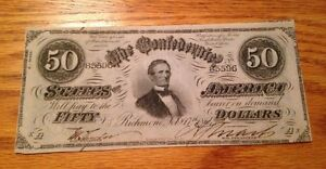 1864 $50 Confederate currency T-66