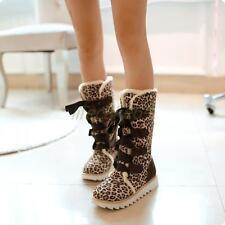 Neue Kreuzbänder Stiefel Damen Schuhe Winter Gr.34-43 rutschfest Rund blau