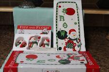 Fitz & Floyd Christmas Snow Circles Tumblers #53/133 & Server #53/125 2007