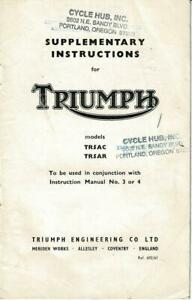 Factory Triumph NEW TR5AC TR5AR, edition #692/61 Instruct Manual SUPPLEMENT %46
