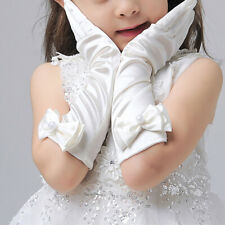 Girls Princess Long Satin Gloves Dress Costume Bow-Knot Gloves Birthday Gift