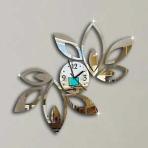 3D Wall Clock Acrylic Leaves Mirror Design Watch Living Room Home Decor Gift New