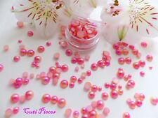 Mermaid Pearls Mixed Pot Round Pink Peach Fade Effect Flat Back Nail Art Gems M4
