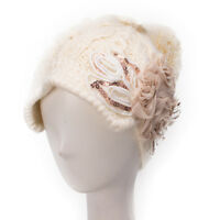 Womens Floral Cotton Blend Knit Pom Beanie Beret Winter Ski Top Winter Hat A295