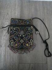 womens hand beaded drawstring unique evening bag purse