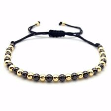 Macrame Braided 4mm Copper Beads Bracelet (Black & Gold)