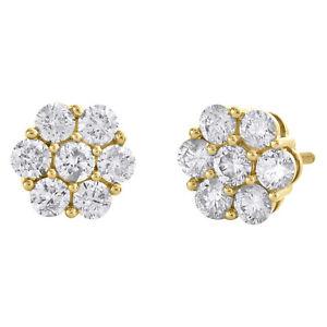 14K Yellow Gold Round Diamond Flower Set Stud 8.50mm Cluster Earrings 1.50 CT.