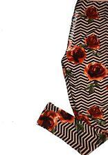 Lularoe LEGGINGS Black White Zig Zag Red Roses One Size Os NWT NEW