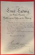 Bestallungsurkunde ERNST LUDWIG VON HESSEN, Großherzog Hessen-Darmstadt, 1895