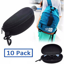 10 Pack Unisex Eyeglasses Case Sunglasses Hard Pouch Box Shell with Clip, Zipper