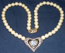 VINTAGE GOLD TONE FAUX PEARL CRYSTAL NECKLACE WITH HEART PENDANT~SIGNED: MONET