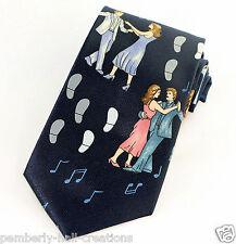 Ballroom Dancing Mens Necktie Dance Steps Music Notes Dancer Gift Blue Tie New