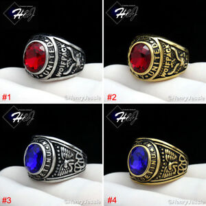 MEN's Stainless Steel US Army/Navy Military Silver/Gold/Black Ruby/Sapphire Ring