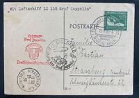 1939 Germany Graf Zeppelin 2 LZ 130 Flight Postcard cover To Strassburg