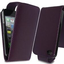 PURPLE FLIP LEATHER PHONE CASE WITH CARD SLOT FOR Apple iPhone 4/4S UK free post