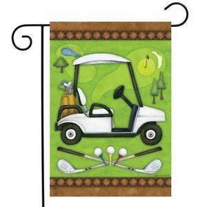 "Golf Spring Garden Flag Cart Clubs Sports 12.5"" x 18"" Briarwood Lane"