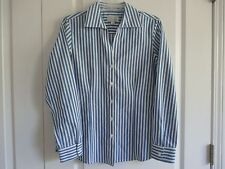 Foxcroft size Small Wrinkle Free blue & white striped long sleeve blouse NEW!