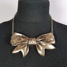 STATEMENT Bow Necklace Collar Length Gold Tone Chain Large Cute Steampunk Goth
