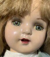 "20"" Unmarked Composition Green Tin Eye Doll Nancy Elizabeth Face ? Cloth Body"