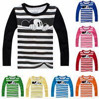 Kids Boys Girls Cartoon Mickey Mouse Long Sleeve T-Shirt Striped Tops Tee Blouse