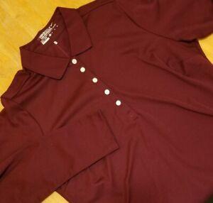 Nike Golf Tour Performance Women's Long Sleeve Polo Shirt Size XL Burgundy #487