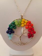 Silver Chain 18 Inch Necklace With Beaded Tree Of Life Pendant