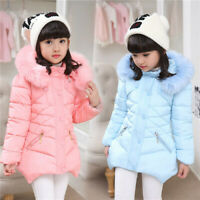 Kids Girls Winter Warm Cotton Down Jacket Hooded Coat Puffer Outwear Long Parka