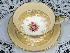 HAMMERSLEY GOLD GILT FLORAL SIGNED SANDY BEIGE TEA CUP AND SAUCER