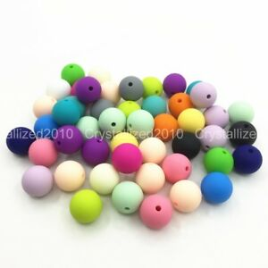Wholesale BPA-Free Silicone Rubber Round Bracelet Necklace Connector 9mm Beads