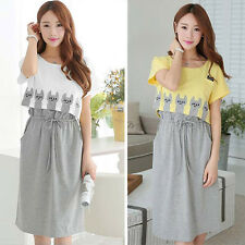 Women's Casual Shirt Dress Breastfeeding Dresses Pregnant Tops Maternity Clothes