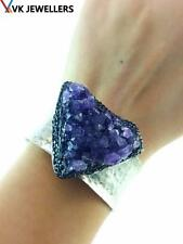 925 STERLING SILVER TURKISH HANDMADE JEWELRY NATURAL AMETHYST HAMMERED CUFF VK18