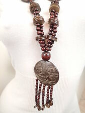 "New Dark Brown Coconut Shell Wood Beads 31"" Long Necklace Pendant"