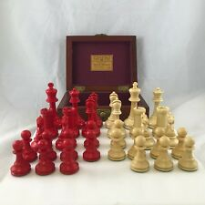 Chess Set Staunton Jaques Fremont Very Rare Red & White Circa 1900-1920 W/ Box