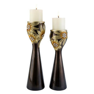 """14"""" and 16"""" Tall Polyresin """"Demeter"""" Candleholder, Golden finish (Set of 2)"""