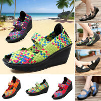 Fashion Women Woven Checkered Pumps Platform Wedges Elastic Strap Slip-on Shoes