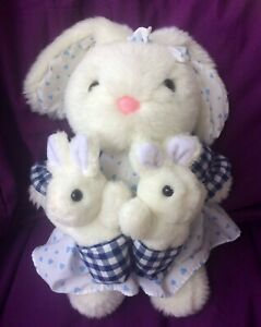 White Bunny Rabbit Mother and Babies Plush Soft Easter Mother's Day Dress 30cm