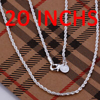925 Sterling Silver Filled Twisted Rope Classic 2mm Solid Charm Necklace Chain