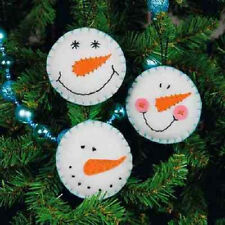 Felt  SNOWMAN SMILE ORNAMENTS Kit; Set of 3  Dimensions Christmas