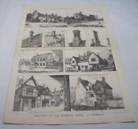 OLD DOMESTIC WORK SKETCHES Victorian Essex & Suffolk Architecture Plate 1881