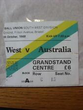 26/10/1988 Rugby Union Ticket: The South West v Australia [At The Memorial Groun