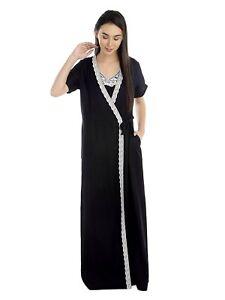 Women's Soft Sleepwear Cotton Viscose Robe Half Sleeve Trimmed Long Bathobe S-7X