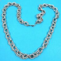 Vintage Chunky Textured Silver Tone Chain Necklace Belt 39 Inches Lightweight